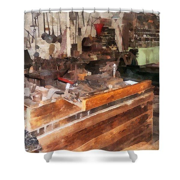Metal Machine Shop Shower Curtain by Susan Savad