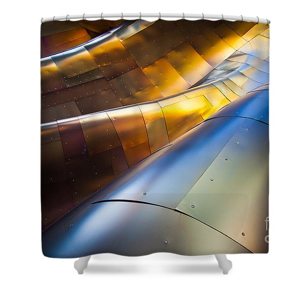 Metal Waves Shower Curtain by Inge Johnsson