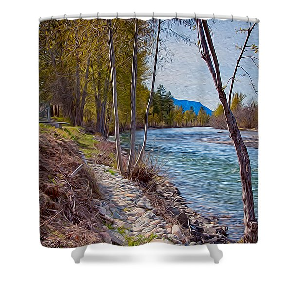 Methow River Coming From Mazama Shower Curtain by Omaste Witkowski