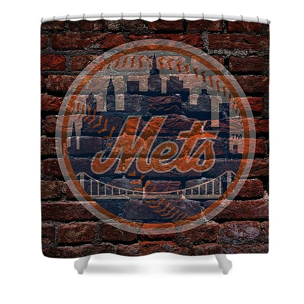 Mets Baseball Graffiti on Brick  Shower Curtain by Movie Poster Prints