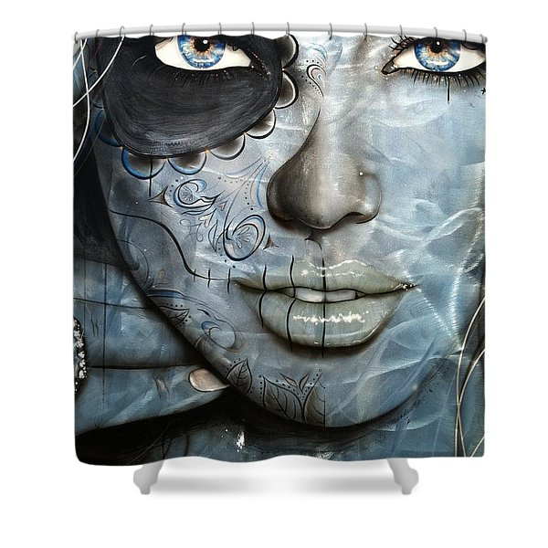 'Mettalic Messiah' Shower Curtain by Christian Chapman Art