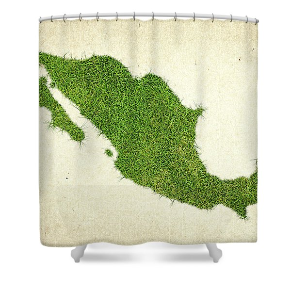 Mexico Grass Map Shower Curtain by Aged Pixel