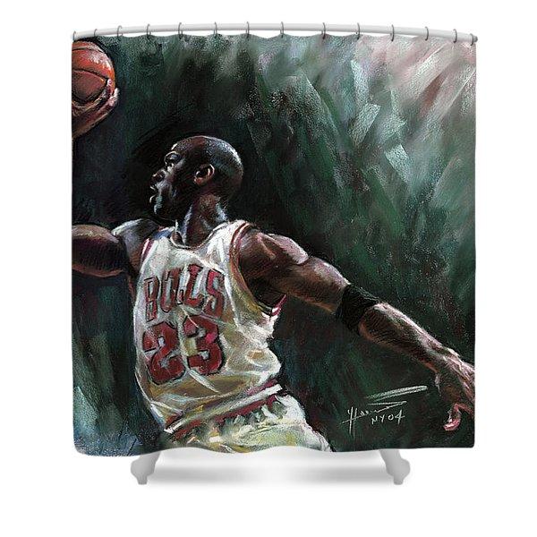 Michael Jordan Shower Curtain by Ylli Haruni