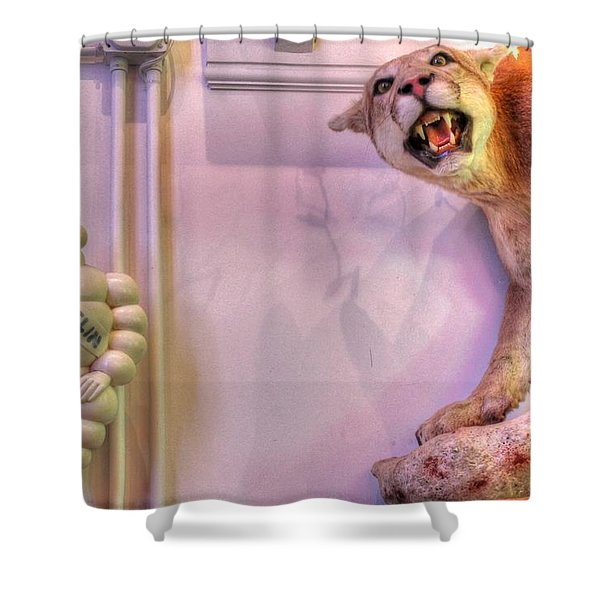 Michelin man Shower Curtain by Jane Linders