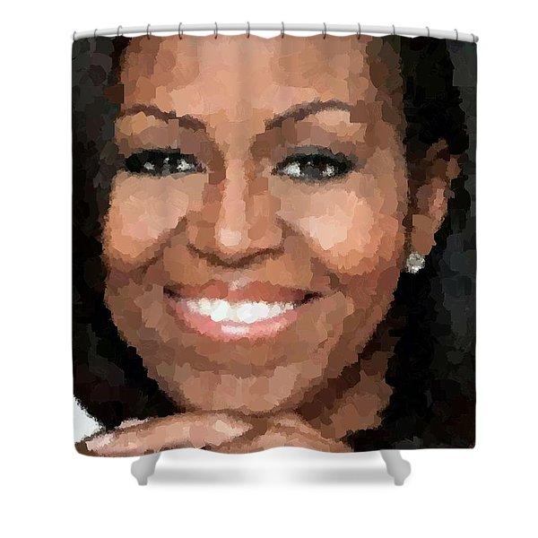 Michelle Obama Shower Curtain by Samuel Majcen