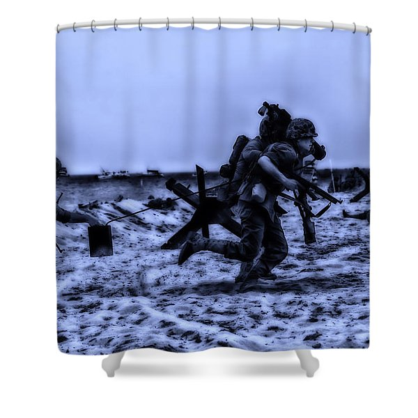 Midnight Battle Stay Close Shower Curtain by Thomas Woolworth