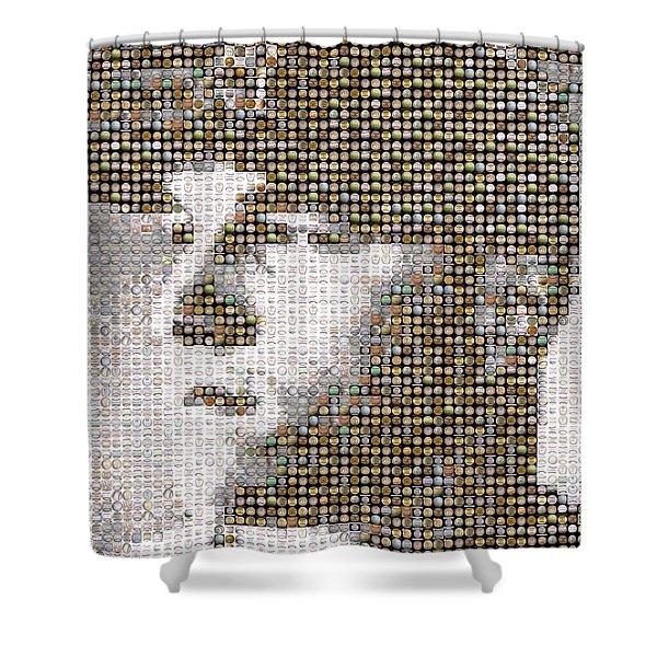 Mike Trout Mosaic Shower Curtain by Paul Van Scott