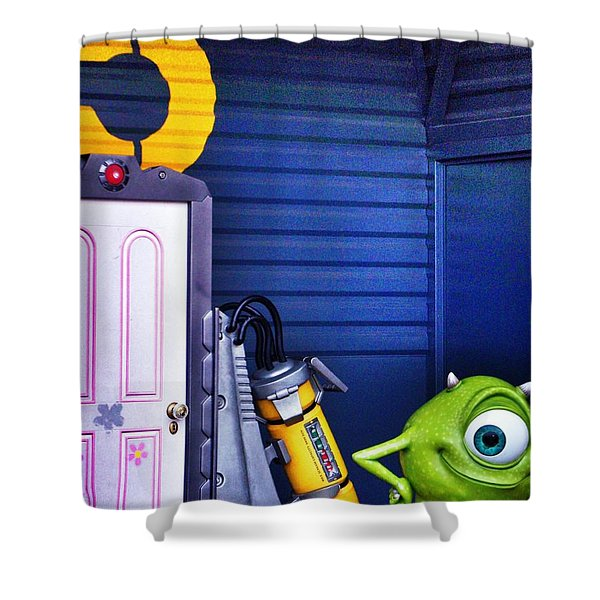 Mike With Boo's Door - Monsters Inc. In Disneyland Paris Shower Curtain by Marianna Mills