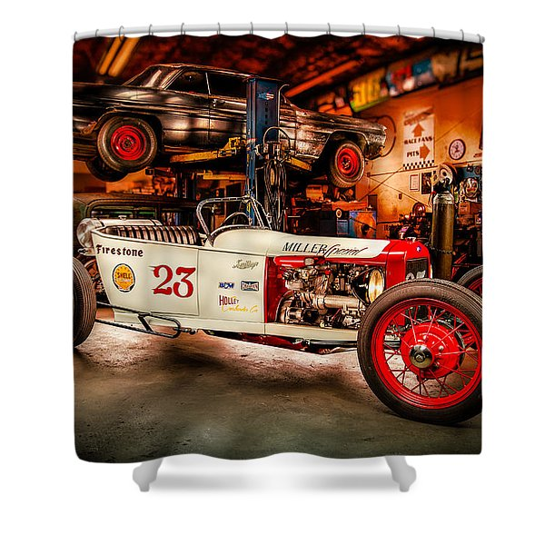 Millers Chop Shop Track T Toyota Shower Curtain by Yo Pedro