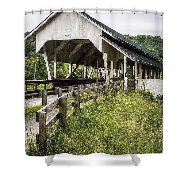 Millers Run Covered Bridge Shower Curtain by Edward Fielding