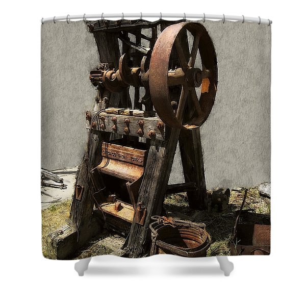 MINING PORTABLE STAMP MILL Shower Curtain by Daniel Hagerman