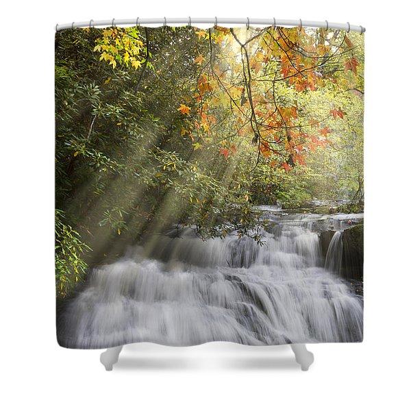 Misty Falls At Coker Creek Shower Curtain by Debra and Dave Vanderlaan