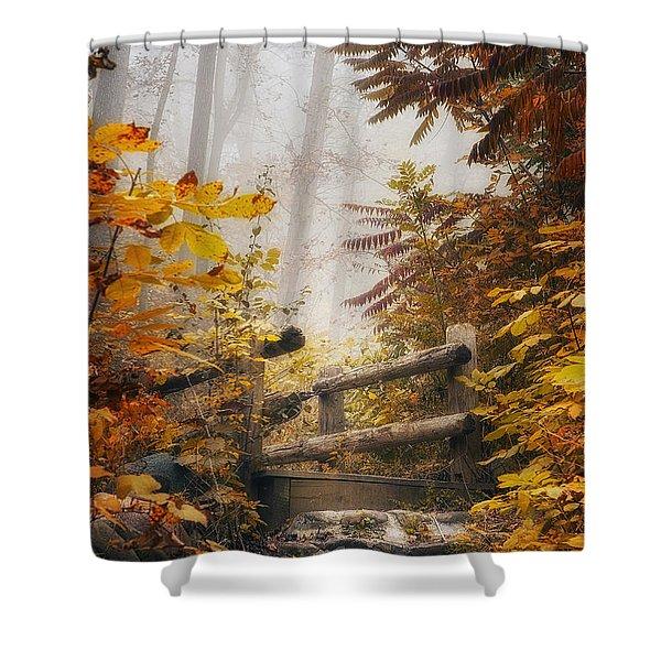 Misty Footbridge Shower Curtain by Scott Norris
