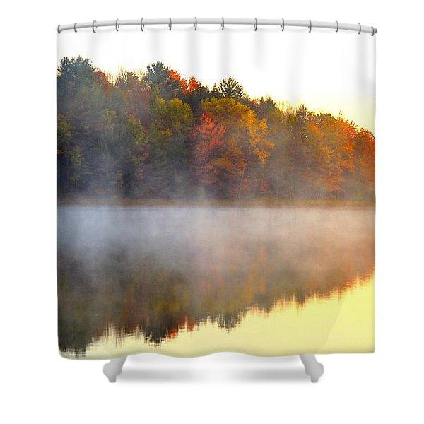 Misty Morning at Stoneledge Lake Shower Curtain by Terri Gostola