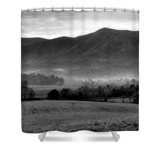 Misty Mountain Morning Shower Curtain by Dan Sproul