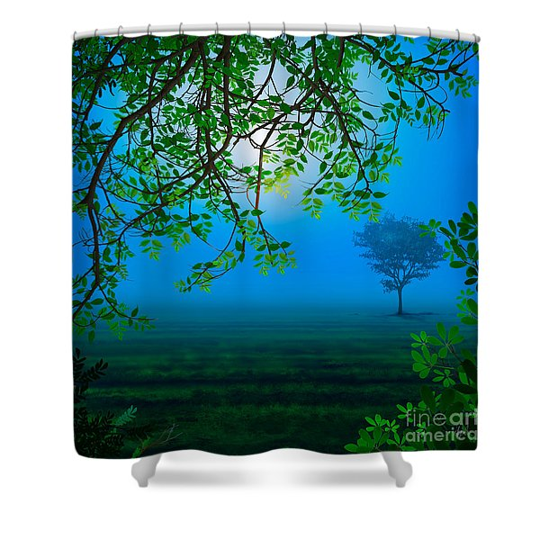 Misty Night Shower Curtain by Bedros Awak