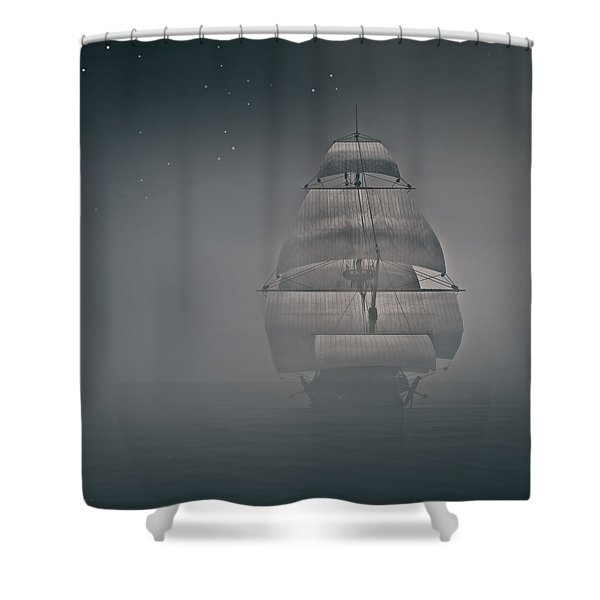 Misty Sail Shower Curtain by Lourry Legarde