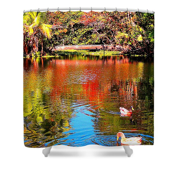 Monet's Garden In Hawaii 2 Shower Curtain by Jerome Stumphauzer