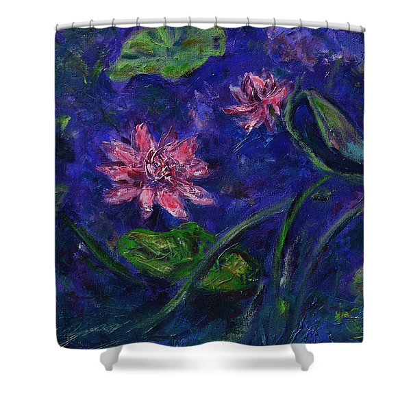 Monet's Lily Pond II Shower Curtain by Xueling Zou