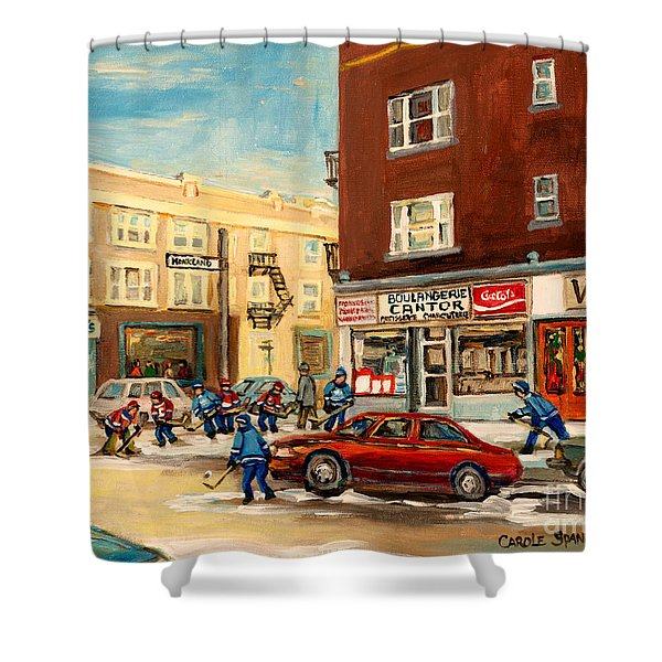 MONKLAND STREET HOCKEY GAME MONTREAL URBAN SCENE Shower Curtain by CAROLE SPANDAU