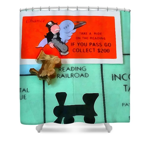 Monopoly Man Shower Curtain by Dan Sproul