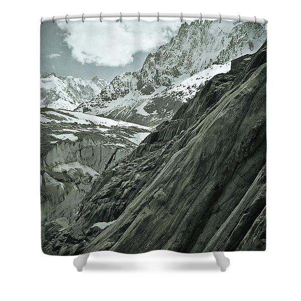 Mont Blanc Glacier Shower Curtain by Frank Tschakert