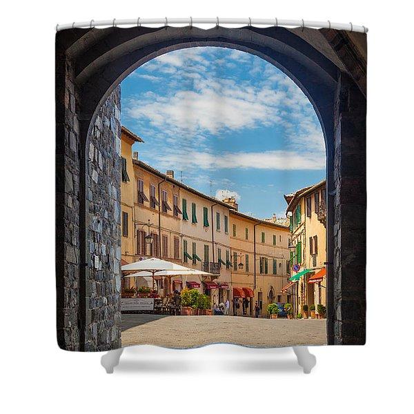 Montalcino Loggia Shower Curtain by Inge Johnsson