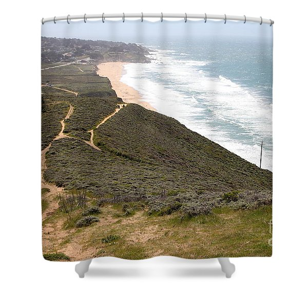 Montara State Beach Pacific Coast Highway California 5d22632 Shower Curtain by Wingsdomain Art and Photography