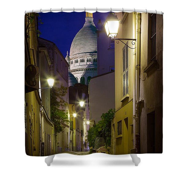 Montmartre Street and Sacre Coeur Shower Curtain by Inge Johnsson