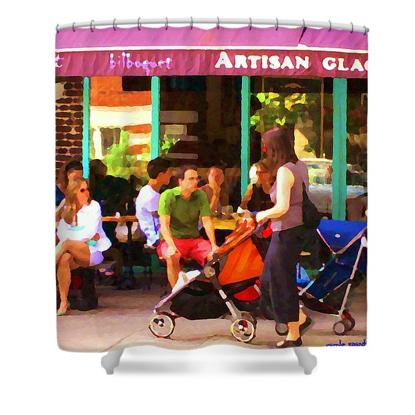 Montreal Art Work Bilboquet Cafe Scene Moms And Baby Carriages  In  Outremont By Carole Spandau Shower Curtain by Carole Spandau