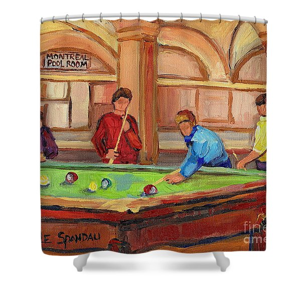 Montreal Pool Room Shower Curtain by Carole Spandau