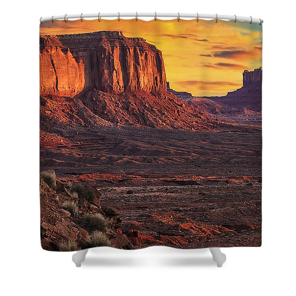 Monument Valley Sunrise Shower Curtain by Priscilla Burgers