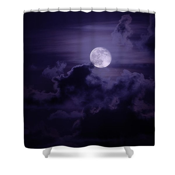 Moody Moon Shower Curtain by Chad Dutson