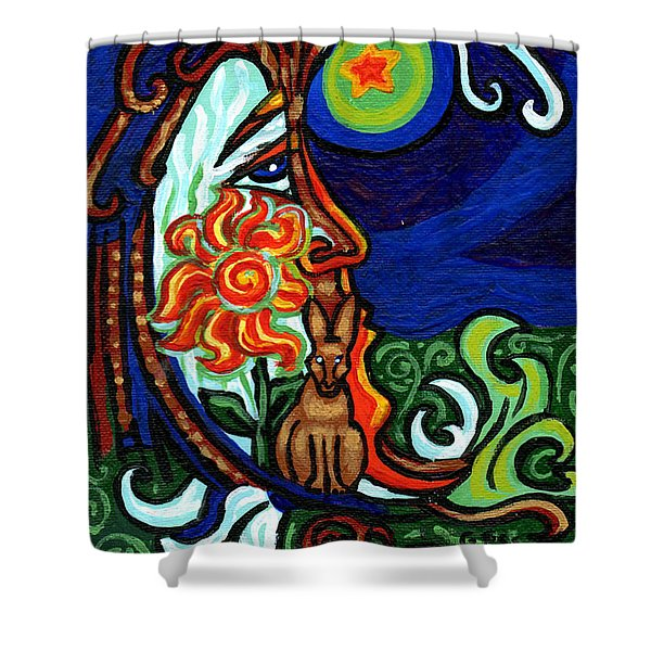 Moon In Tree Shower Curtain by Genevieve Esson