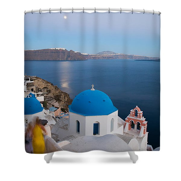 Moon over blue domed church in Oia Santorini Greece Shower Curtain by Matteo Colombo