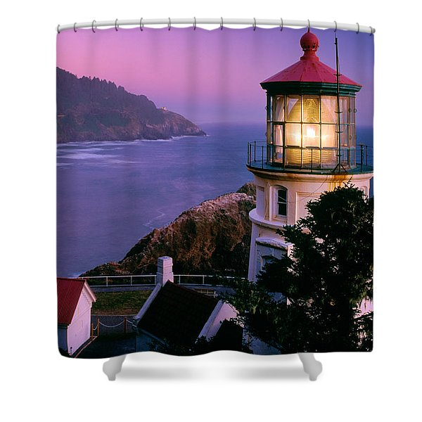 Moon Over Heceta Head Shower Curtain by Inge Johnsson