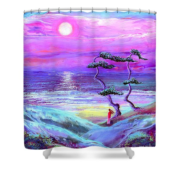 Moon Pathway Shower Curtain by Jane Small
