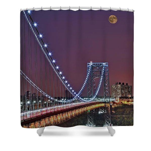 Moon Rise over the George Washington Bridge Shower Curtain by Susan Candelario