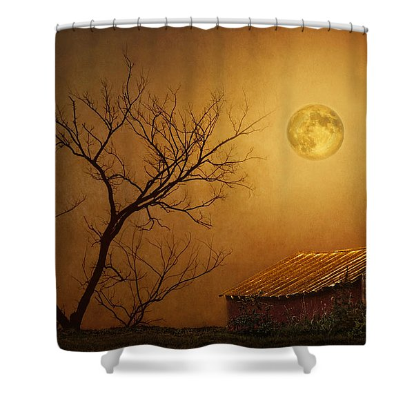 Moonglow Over Polenz Ranch Shower Curtain by Nikolyn McDonald