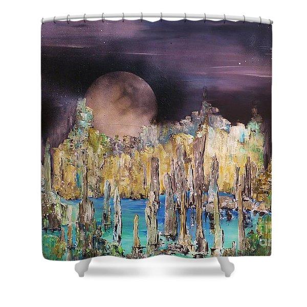 Moonhenge Shower Curtain by Kaye Miller-Dewing