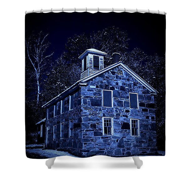 Moonlight on the Old Stone Building  Shower Curtain by Edward Fielding