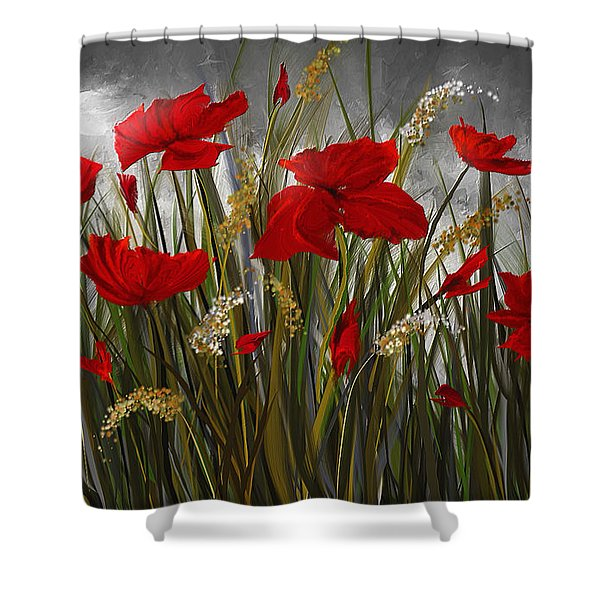 Red Poppies Paintings Shower Curtains For Sale