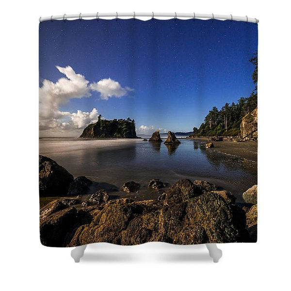 Moonlit Ruby Shower Curtain by Chad Dutson