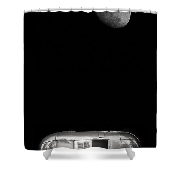 Moonrise over Airstream Shower Curtain by Edward Fielding