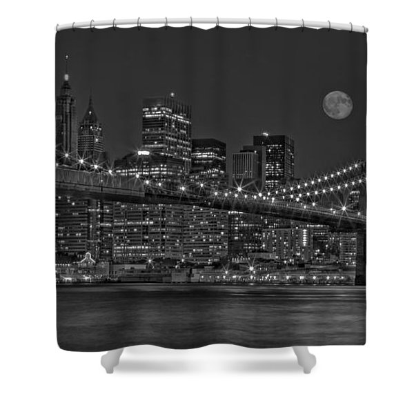 Moonrise Over The Brooklyn Bridge BW Shower Curtain by Susan Candelario