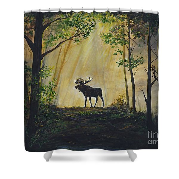 Moose Magnificent Shower Curtain by Leslie Allen