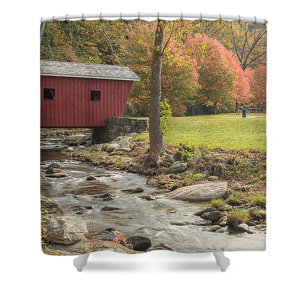 Morning at the park Shower Curtain by Bill  Wakeley
