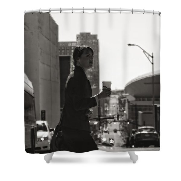 Morning Coffee At Starbucks In Nashville Shower Curtain by Dan Sproul