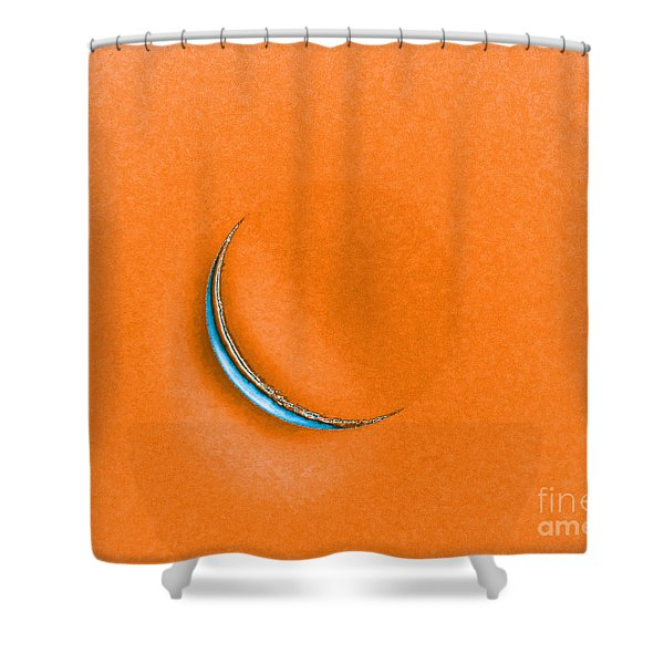 Morning Moon Orange Shower Curtain by Al Powell Photography USA