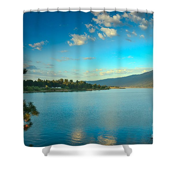 Morning Reflections On Lake Cascade Shower Curtain by Robert Bales